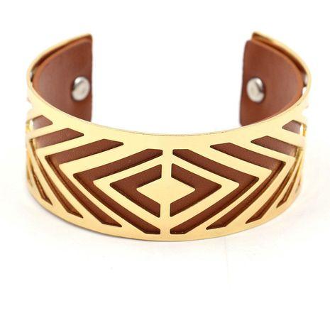 nouvelle mode en cuir géométrique creux en métal bracelet femmes large bracelet multicolore en gros nihaojewelry NHHM229750's discount tags