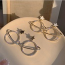 Korean fashion  rhinestone planet earrings drop oil earrings femininity wholesale nihaojewelry NHXI229783