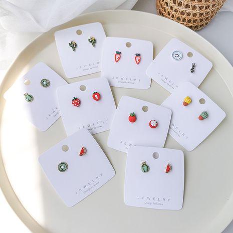 Summer fashion fruit earrings asymmetric mini cactus mangosteen watermelon earrings wholesale nihaojewelry NHMS229800's discount tags