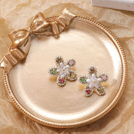 Korean  fashion  925 silver needle handmade  simple flower  new  earrings wholesale nihaojewelry NHMS229803's discount tags