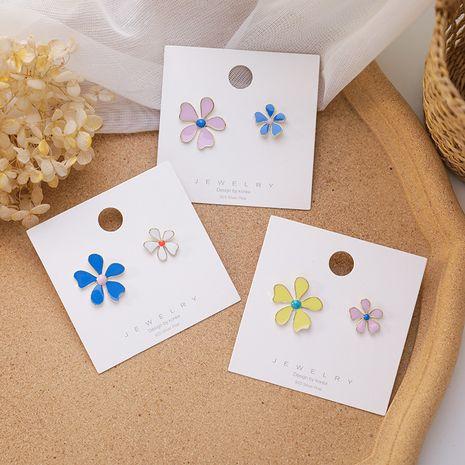 Korean 925 silver needle new contrast color flower asymmetric earrings sweet daisy flower holiday style earrings wholesale nihaojewelry NHMS229813's discount tags