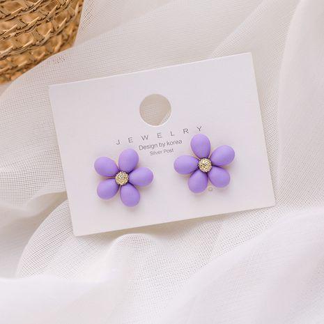 925 silver needle fairy flower earrings new small  purple earrings noble purple wholesale nihaojewelry NHMS229823's discount tags
