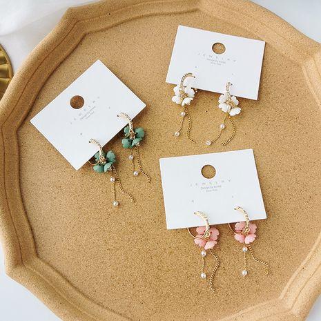 long tassel pearl earrings colorful flowers 925 silver needle earrings wholesale nihaojewelry NHMS229831's discount tags