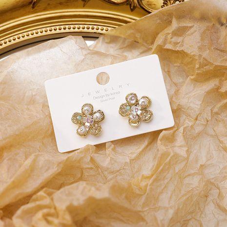 fashion handmade pearl light luxury tide earrings 925 silver needle flower girl earrings wholesale nihaojewelry NHMS229845's discount tags