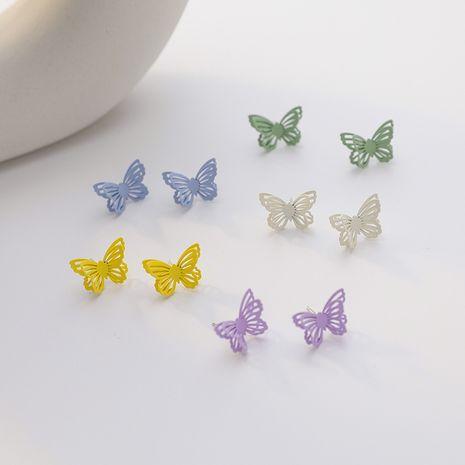 925 aguja de plata moda linda dulce mariposa pendientes pintura color pendientes tridimensionales venta al por mayor nihaojewelry NHMS229876's discount tags