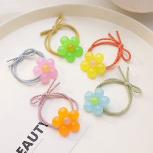 Korean hair scrunchies simple and lovely five-color petal hair circle tie hair rope ball head adult hair circle wholesale nihaojewelry NHMS229878's discount tags