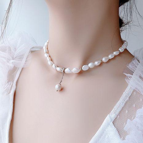 Collar de alto sentido simple collar de perlas collar de cadena de clavícula retro venta al por mayor nihaojewelry NHMS229887's discount tags