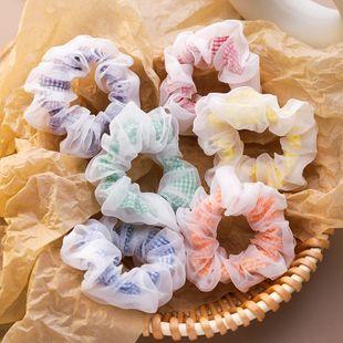 chiffon plaid hair scrunchies girl cute forest fairy simple large intestine Korean hair ornament headdress wholesale nihaojewelry NHMS229889's discount tags