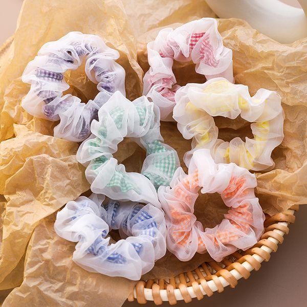 chiffon plaid hair scrunchies girl cute forest fairy simple large intestine Korean hair ornament headdress wholesale nihaojewelry NHMS229889