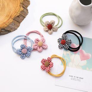 Korean hair scrunchies headdress sweet plaid flowers hair rope circle ball head rubber band simple hair accessories wholesale nihaojewelry NHMS229890's discount tags