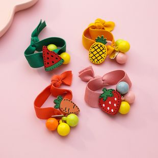 Korean hair scrunchies cute carrot strawberry hair ring hair accessories girl fruit rubber band wholesale nihaojewelry NHMS229895's discount tags