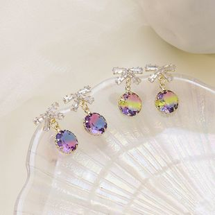 Korean crystal bow earrings high-end fashion 925 silver white fungus needle colorful crystal earrings  NHMS229911's discount tags