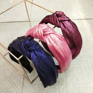 Korean wide-brimmed solid color bright silk wrinkle headband high-end shiny knotted hairpin hair accessories ladies wholesale nihaojewelry NHUX229934's discount tags