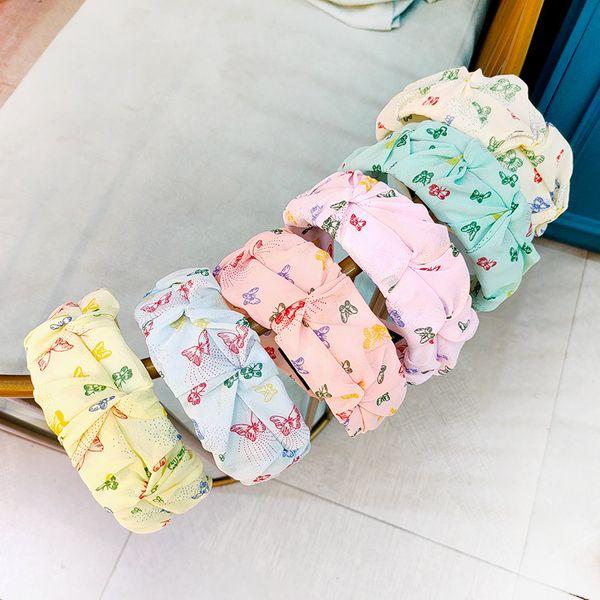 Korean macaron simple fold adult headband wide-brimmed butterfly  bud hairpin high-end hair headband wholesale nihaojewelry NHUX229946