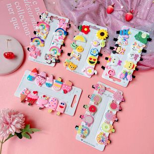 little girl hair accessories children hairpin set cute baby fruit ice cream headdress hairpin wholesale nihaojewelry NHPJ229961's discount tags