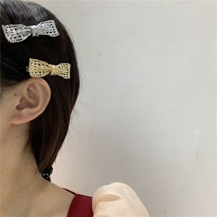 Korean sweet and savory hollow metal bow hairpin side clip duckbill clip headdress hairpin wholesale nihaojewelry NHYQ229974's discount tags