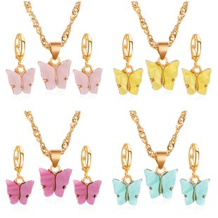 fashion butterfly necklace earrings set jewelry acrylic necklace earring set hot jewelry wholesale nihaojewelr NHDP229544's discount tags