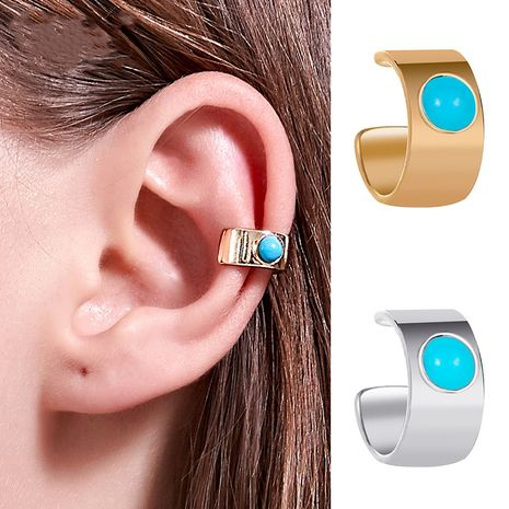Boucles d'oreilles nationales mode large turquoise oreille clip en forme de U oreille oreille clip sans boucles d'oreilles percées en gros nihaojewelry NHDP229551's discount tags
