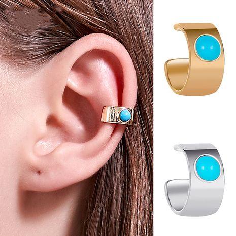 National earrings fashion wide turquoise ear clip u-shaped ear bone clip without pierced earrings wholesale nihaojewelry NHDP229551's discount tags