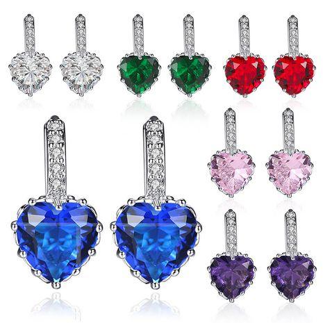 hot sale earrings multicolor zircon love earrings peach heart crystal earrings wholesale nihaojewelry NHDP229558's discount tags