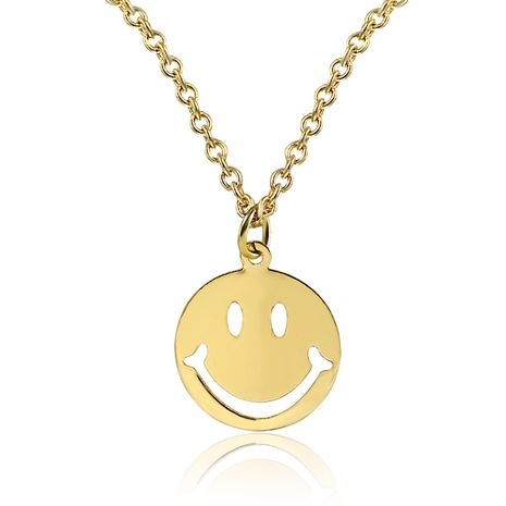 Korean accessories expression necklace cute round smile clavicle chain wholesale nihaojewelry NHDP229561's discount tags