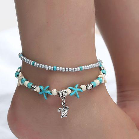 Conque Yoga tortue cheville plage étoile de mer perle rétro tortue vague à la main chaussures en gros nihaojewelry NHDP229566's discount tags