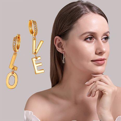 new earrings fashion creative asymmetric letter earrings simple trendy earrings wholesale nihaojewelry NHDP229573's discount tags