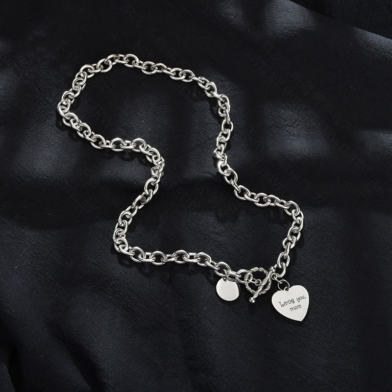 retro new products hot selling titanium steel hip hop heart pendant necklace wholesale nihaojewelry NHHF229576