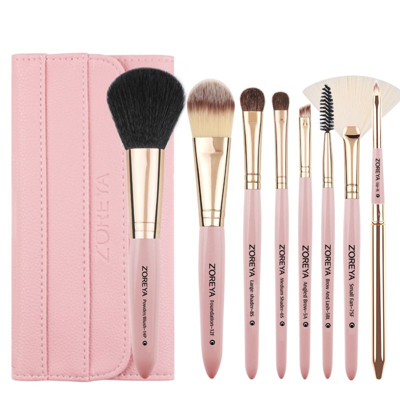 new makeup brush set artificial hair 8 wooden handle beginner makeup brush set wholesale nihaojewelry NHAY229582