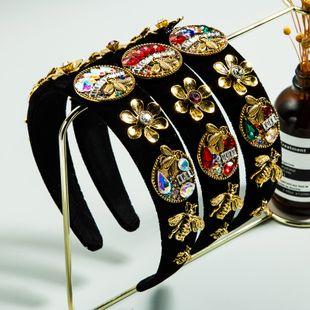 retro baroque palace style color rhinestone headband black gold velvet fabric flower headband NHLN229988's discount tags