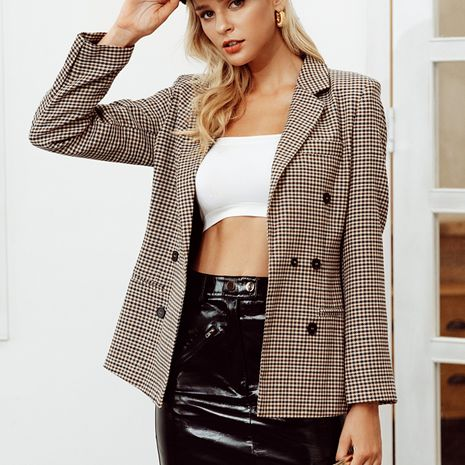 Casual professional style sexy plaid wild suit jacket NHDE230684's discount tags