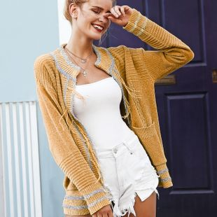 Sweet sweater casual solid color tassel sequined cardigan wholesale women's coat NHDE230688's discount tags