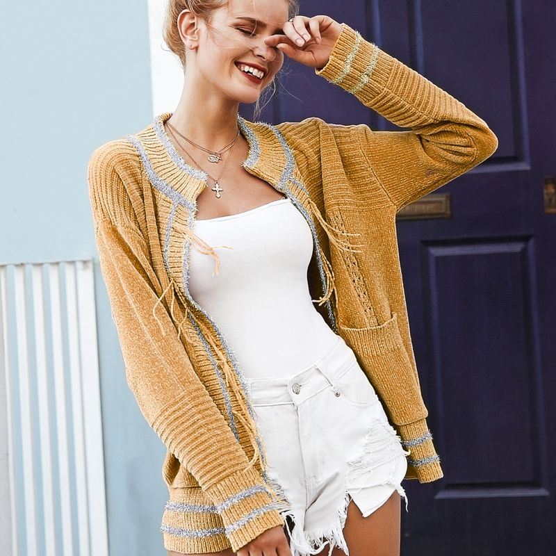 Sweet sweater casual solid color tassel sequined cardigan wholesale women's coat NHDE230688