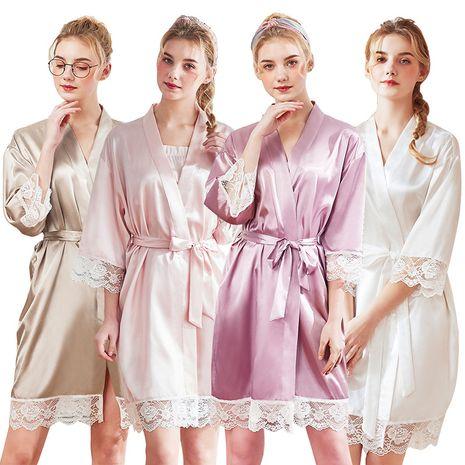 nightgown silk pajamas ladies spring and summer silk home pajamas wholesale nihaojewelry NHJO221768's discount tags