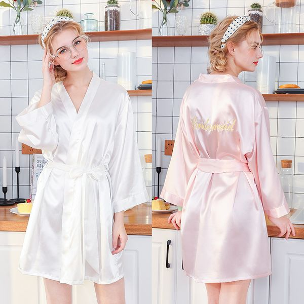 silk nightgown wedding robe embroidery Bridesmaid thin section cardigan robe bridesmaid robe wholesale nihaojewelry NHJO221771