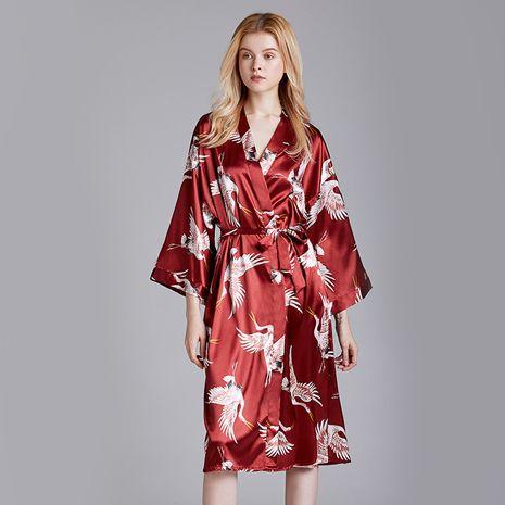 silk  pajamas summer fashion  new  long simple  red  robe home pajamas wholesale nihaojewelry NHJO221772's discount tags
