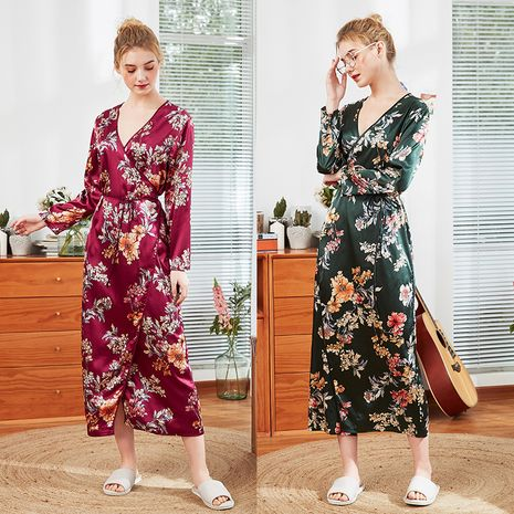 fashion silk nightgown ladies summer  long-sleeved silk home service wholesale  nihaojewelry NHJO221773's discount tags