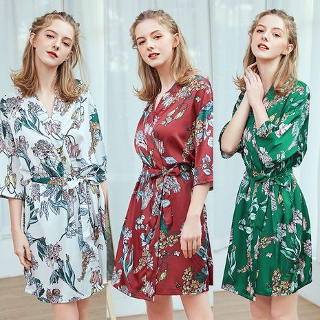 silk short nightgown ladies spring and summer mid-sleeved large size pajamas bathrobes home service  wholesale nihaojewelry NHJO221774's discount tags