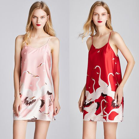 Summer fairy crane pajamas silk small sex appeal suspender skirt nightdress bottoming skirt printed home service wholesale nihaojewelry NHJO221776's discount tags