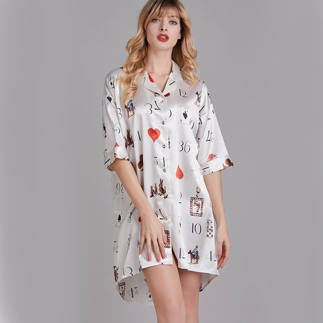 summer silk thin section mid-sleeved nightdress summer shirt collar loose home service outdoor wholesale nihaojewelry NHJO221778's discount tags