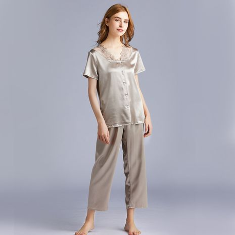 fashion pajamas ladies summer silk short-sleeved trousers two-piece suit home service wholesale nihaojewelry NHJO221788's discount tags