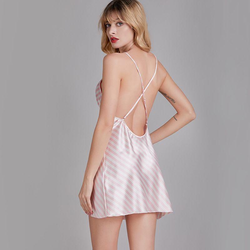 sexy pajamas ladies summer silk backless hot nightdress thin temptation suspenders sexy lingerie wholesale nihaojewelry NHJO221794