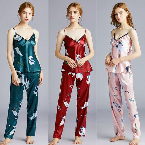 fashion silk pajamas summer suspenders trousers two-piece suit home service thin section wholesale nihaojewelry NHJO221798's discount tags
