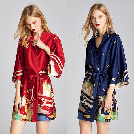 summer  fashion pajamas silk robe bathrobe morning robe mural printing home service wholesale nihaojewelry NHJO221808's discount tags