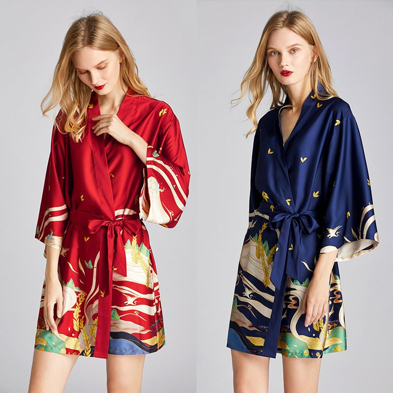 summer  fashion pajamas silk robe bathrobe morning robe mural printing home service wholesale nihaojewelry NHJO221808