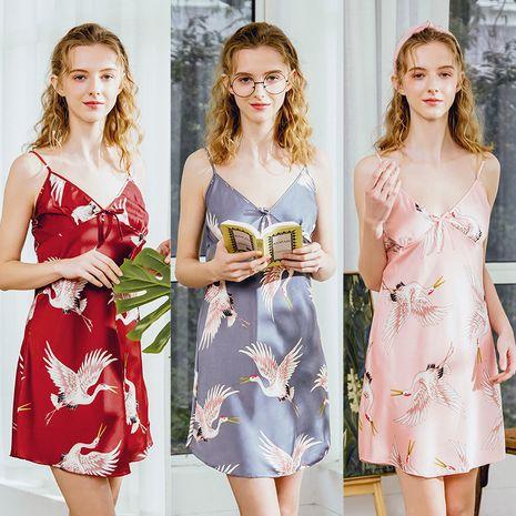 fashion pajamas silk pajamas ladies summer  sexy suspenders nightdress home service wholesale nihaojewelry NHJO221810's discount tags