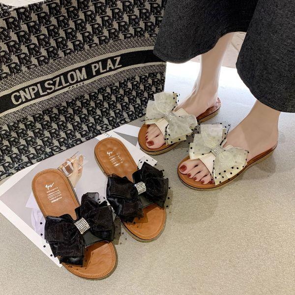 Zapatillas de hilo de malla de punto de nueva ola de verano zapatos de mujer de color sólido arco de fondo plano de PU zapatos rectos al por mayor nihaojewelry NHYR221850