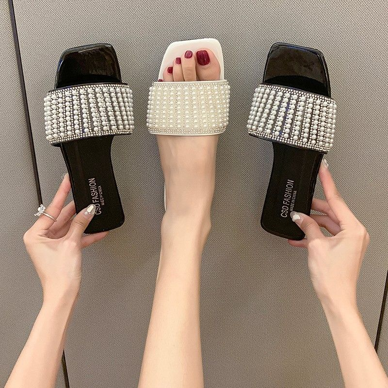 Summer New fashion square head low heel pearl Rongxiang outside wear slippers wholesale nihaojewelry NHYR221852