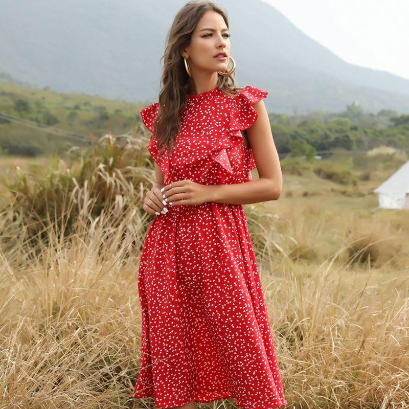 fashion new Red polka dot chiffon skirt  loose wild show temperament cover belly midi skirt wholesale nihaojewelry NHDF221932