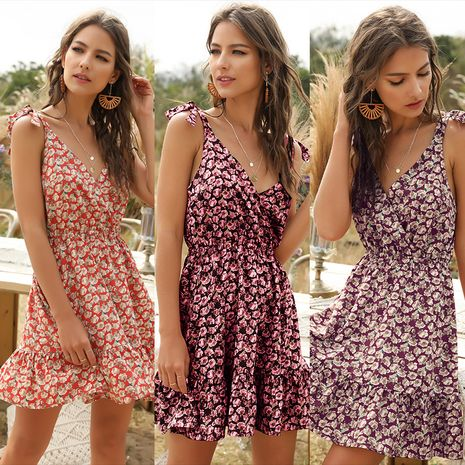fashion new strap red floral short skirt floral dress wholesale nihaojewelry NHDF221937's discount tags